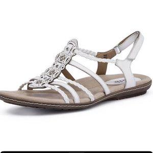 Earth Bluff Boho White Jeweled Gladiator Sandals